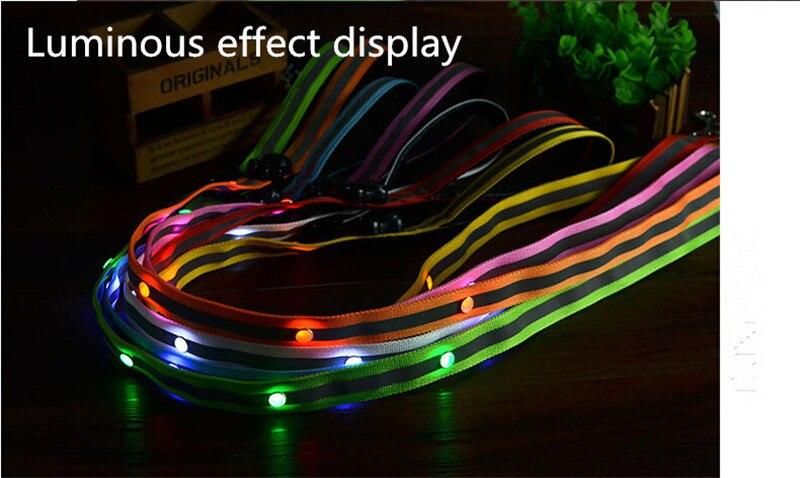 B19 Reflective Pet dog LED leahses dog Pull strap pet dog Drawstring dog leads 2.5cm width