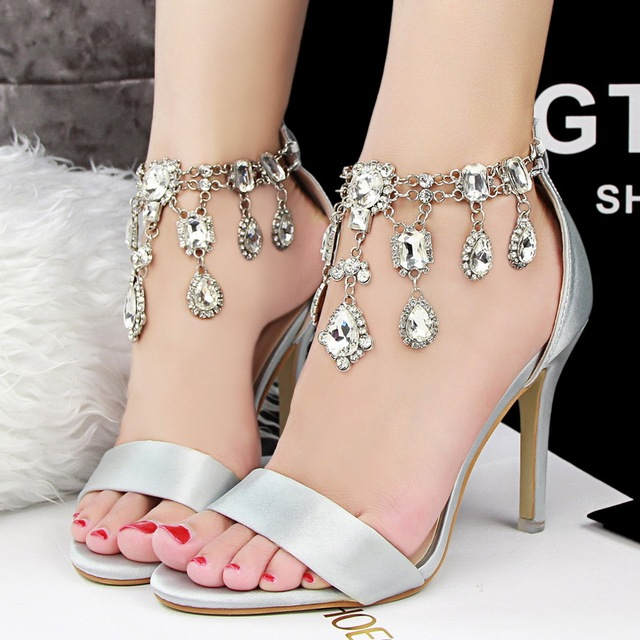 fe130e04a0c8eb New 2015 Rhinestone Sexy High Heels Sandals Summer shoes woman Stilettos Pumps  Wedding Party Shoes 6 Colors Purple Pink Silver