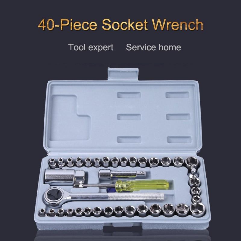 все цены на 40pcs Ratchet Hand Tool Kit Precision Socket Car Wrench Set Sleeve Car emergency repair tool kit Various screw size Ratchet онлайн