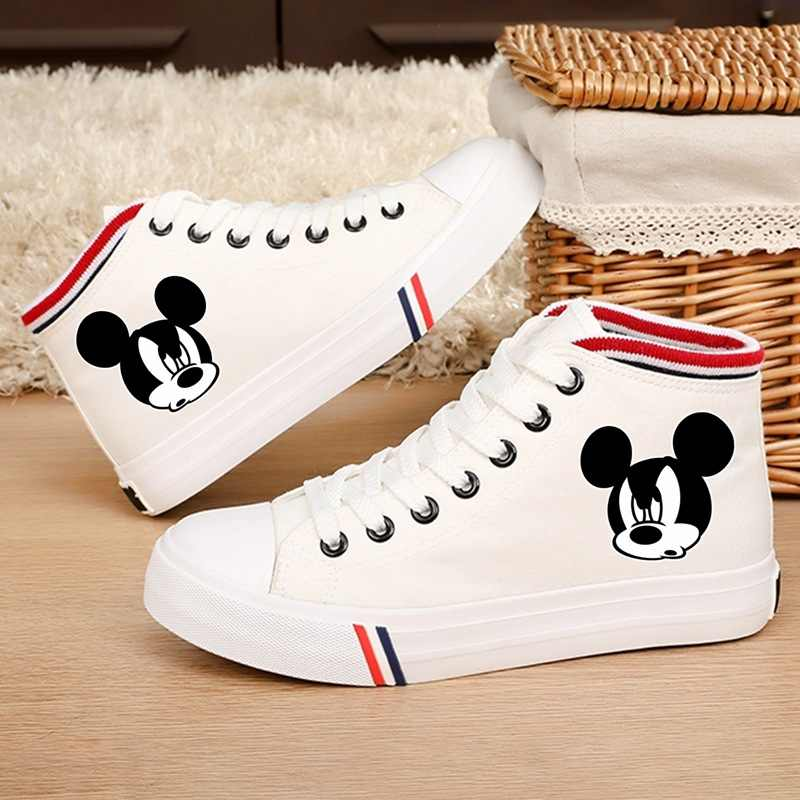 Printed pattern Mickey's funny head Cartoon Pattern  Flat Casual Shoes Handmade Printed Canvas Shoes Student Lace Women's Shoes