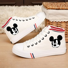 Printed pattern Mickeys funny head Cartoon Pattern  Flat Casual Shoes Handmade Canvas Student Lace Womens