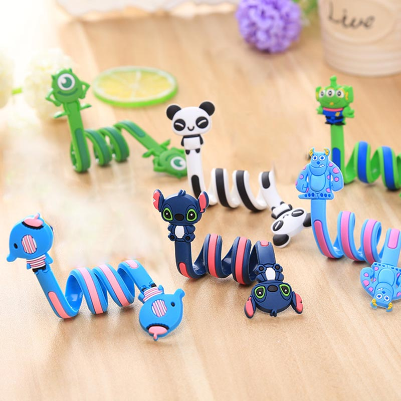 Long Cable Winder Cute Cartoon Animal Headphone Earphone Organizer Wire Holder Action Toy Figures Set orico desktop cable clip cord holder management system winder wire organizer earphone cbsx