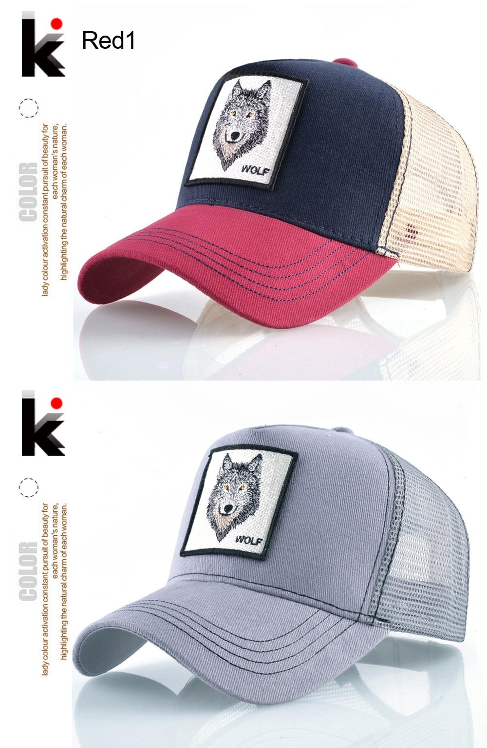 Gorra de béisbol de moda Snapback camionero para hombres verano  transpirable malla mujer lobo bordado Hip Hop Casquette chicos Kpop hueso.  K 01 K 02 K 04 01 ... c3c3af45094