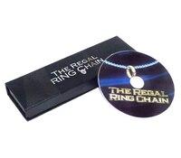 O Regal Anel Cadeia (DVD + Gimmick) Truques de mágica Magie Anel Emprestado Para Corrente No Pescoço Close Up Ilusão Adereços Mentalismo Comédia