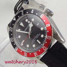 41mm Corgeut Black Dial Red Rotating Beze Date GMT Luminous Steel Case Automatic Movement mens Watch