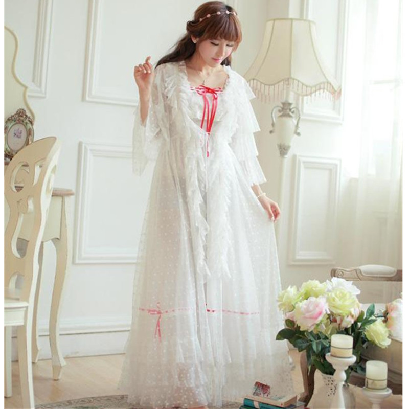 Vintage Women s Nightgowns Beige Long Sleeve 2 Pics Robes Royal Roupas De Dormir Femininas Lace
