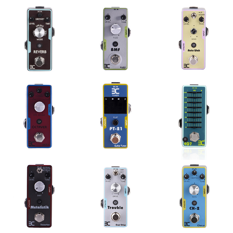 EX Guitar Pedals Mini Guitarra Pedal Single Effects Distortion Overload Fuzz Echo Reverb Wah Equal Chorus Compression Pedalboard mooer ensemble queen bass chorus effect pedal mini guitar effects true bypass with free connector and footswitch topper