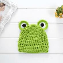 DreamShining Cartoon Baby Hats Handmade Infant Caps Newborn Photograph Props Crochet Knitted Cap Unisex Girls Boys Frog Hats