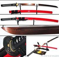 Red&Black Foldedsteel Full Tang Sharp Blade Warrior tusba Red Katana Sword #511