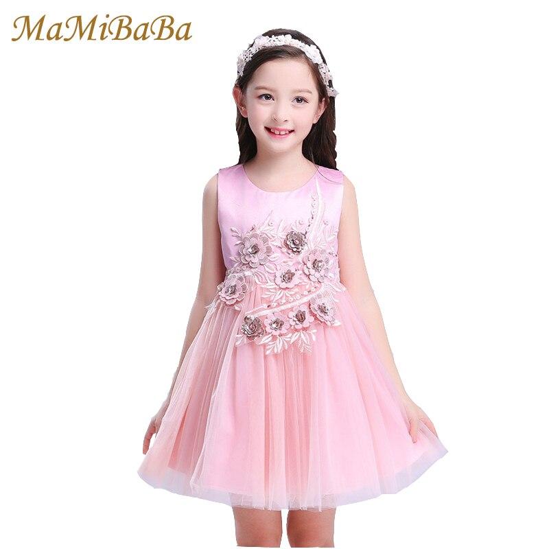 Kids Baby Girl Dresses 2018 New Summer Sleeveless Solid Lovely Prince Cotton Knee-length Dress For Children Girls Clothing Ds510