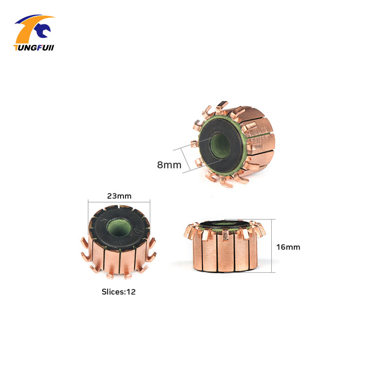 TUNGFULL 8x23x16mm 2Pcs Copper Rod Alternator Motor Collector Copper Tones Brass Engine Collector Micro-Drilled Armature Tool