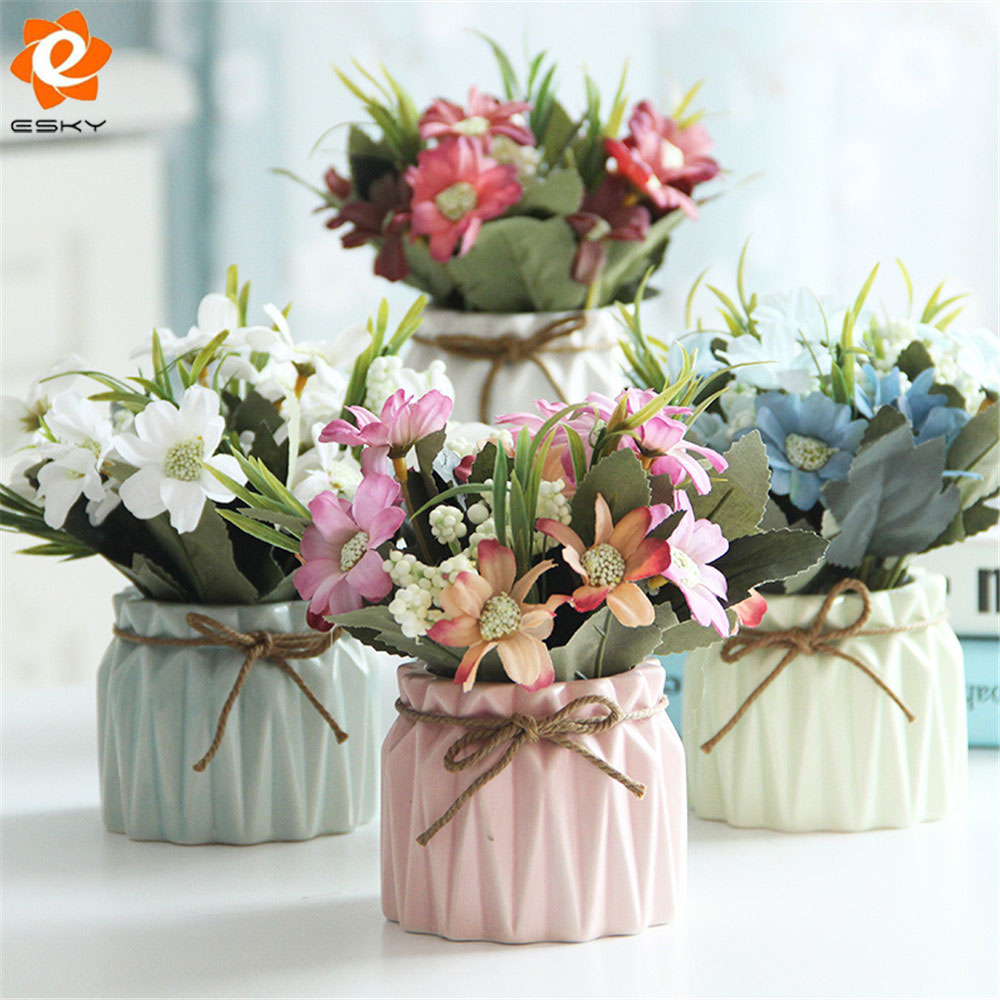 Decorative potted plants artificial flowers with vase for for Artificial leaves for decoration