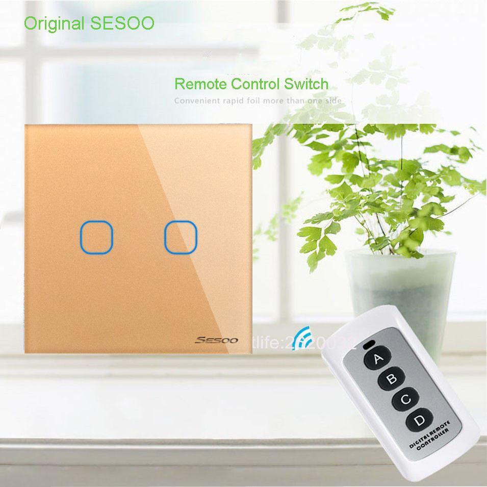 EU/UK Type SESOO Remote Control Switch 2 Gang 1 Way,RF433 Smart Wall Switch,Wireless Remote Control Touch Light Switch, Golden eu uk standard sesoo remote control switch 3 gang 1 way wireless remote control wall touch switch light switch for smart home