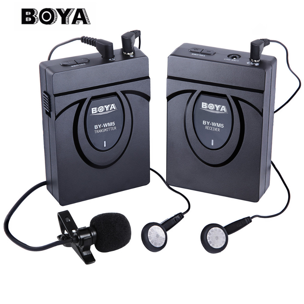 BOYA BY-WM5 wireless microphone Wireless Lavalier Microphone System for  Canon SONY DSLR Camera Camcorders Audio Recorder boya by wm5 dslr camera wireless lavalier microphone recorder system for canon 6d 600d 5d2 5d3 for nikon d800 forsony dv camcord