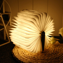 Wooden Rechargeable Book Lamp Folding Mini Table Light L16cm Mutilcolors Led USB Desk Night Lamp Bedroom Bedside Decor Lighting недорого