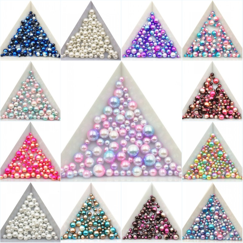 3/4/5/6/8mm About 300pcs Random Mix No Hole Imitation Pearls Round Loose Beads Garment Handmade DIY for Jewelry Making /Nail Art