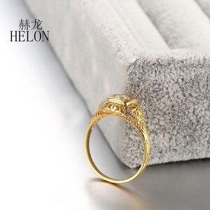 Image 5 - HELON 固体 10 18k イエローゴールドラボ成長ダイヤモンド婚約リング 0.3CT Moissanites ヴィンテージ古典的な結婚指輪ジュエリーの女性のギフト