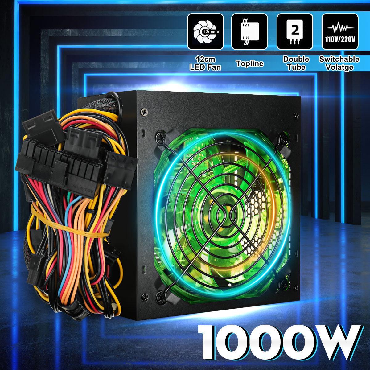 Noir 1000 W 110 ~ 220 V alimentation PSU PFC 12 cm LED ventilateur silencieux ATX 24pin 12 V PC ordinateur SATA alimentation de jeu pour Intel AMD bureau
