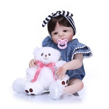 цены Real Life Soft Silicone Reborn Girl Dolls Baby Realistic Fashion Doll Reborn 22Inch Full Vinyl Boneca BeBe Reborn Doll for Girls