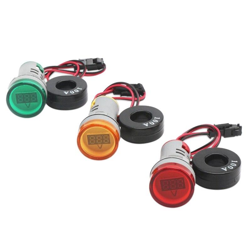 Mini Ac 100A indicador Led Ac 0-100A amperímetro Digital instrumento de prueba de corriente 3 verde rojo amarillo advertencia señal de accidente Indica