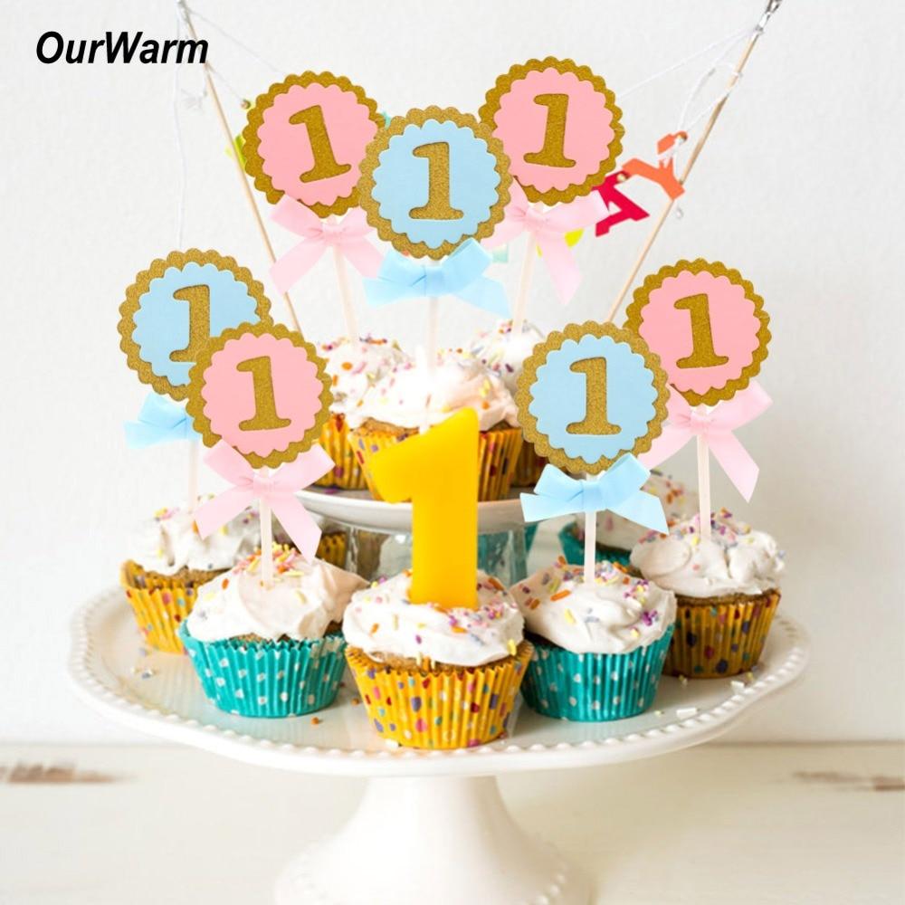 Aytai 10st Cake Toppers Baby 1st Födelsedag Muffinsdekorationer - Semester och fester