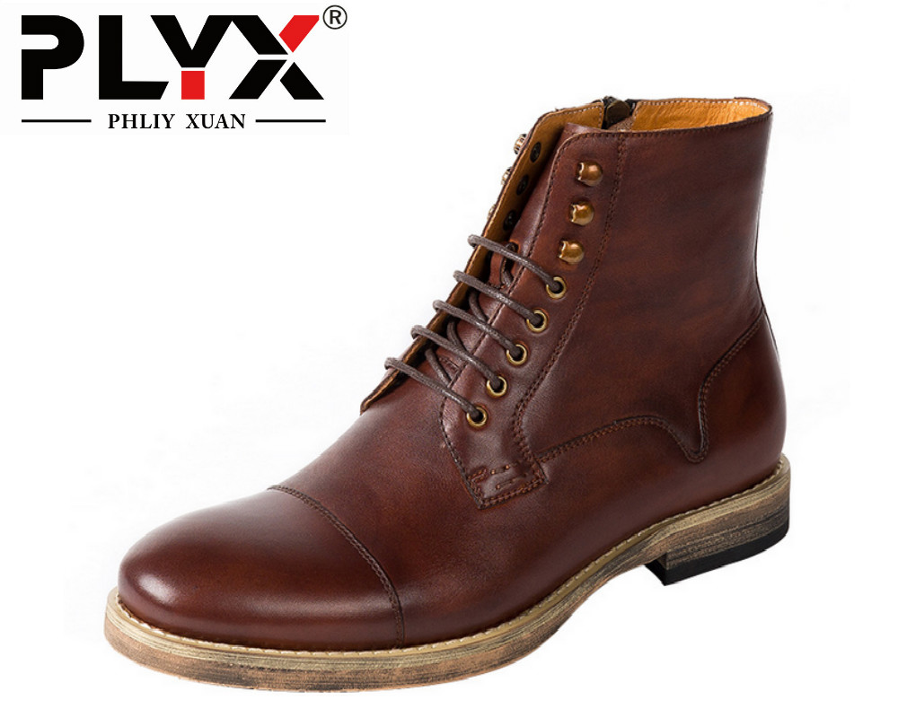Brand PHLIY XUAN Genuine Leather Mens Boots Retro British Style Desert Boots 100% Handmade Botas Hombre Winter Boots For Men wine kanglong prince xuan 4 100
