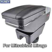 Apoyabrazos para Mitsubishi Mirage Attrage 2014-2018, caja de almacenamiento giratoria con reposabrazos, decoración, estilismo para coche, 2015