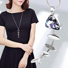 2018 Модный кристалл длинный свитер цепь модное ожерелье в форме