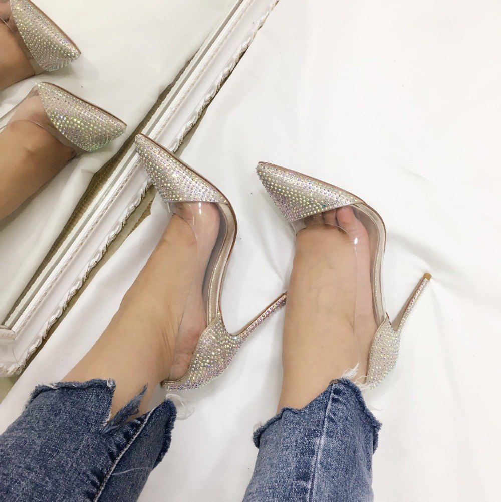 2018 Spring Hot New Arrival Crystal Evening Shoes Women Slip On Rhinestone High Heels Pointed Toe Wedding Pumps Custom Made hot sale 2016 new fashion spring women flats black shoes ladies pointed toe slip on flat women s shoes size 33 43