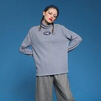 2018 New Design Women Spring T Shirt Turtleneck Long Sleeve Cotton Striped Print Loose Autumn Tee