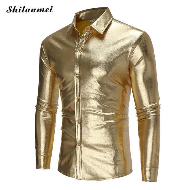 5bb23cbab2 Outono Camisa Social Masculina Ouro Manga Longa Ajuste Homens Magros camisas  Sliver Cor Brilhante Ocasional Dos