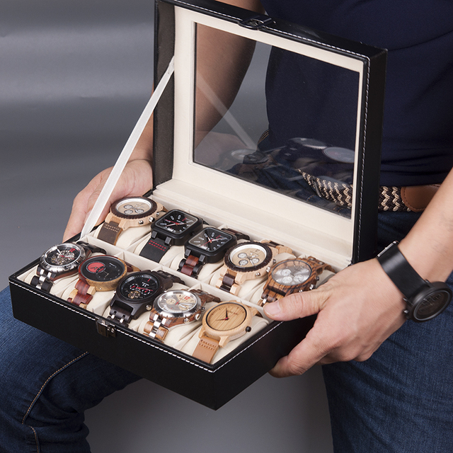 BOBO BIRD Leatherette Wrist Watch Display Box Organizer Storage Box Watch Holder Jewelry Display Case saat kutusu