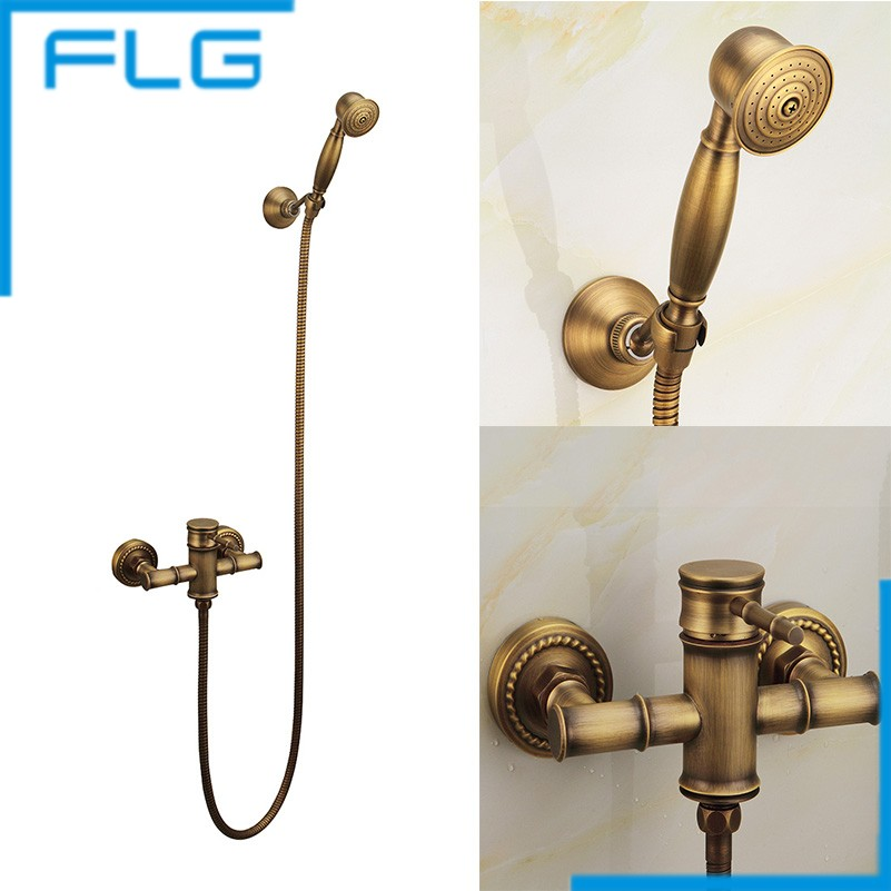 Wall Mounted Antique Brass Bronze Brushed Bathtub Faucet With Hand Shower Bathroom Shower