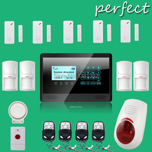433MHZ GSM / SMS Quad-band Touch Alarm System , Touch Keypad GSM Phone SMS Wireless Home Security DHL