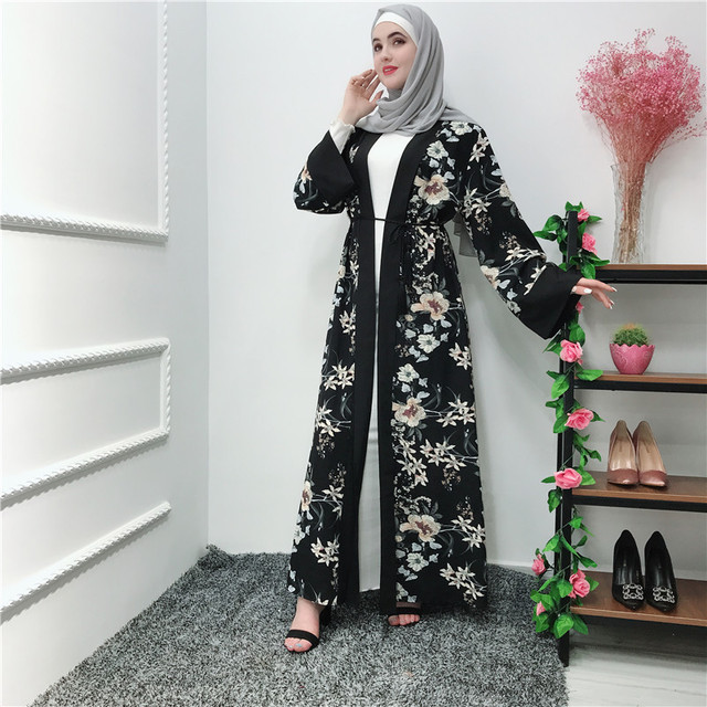 Long Muslim Cardigan Women Kimono Femme Turkey Islamic Clothing Floral Print Abaya Summer Kaftan Dress Robe Dubai Arab Outwear