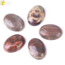 CSJA Natural Colorful Agates Loose Beads Cabochon Oval CAB Stone Handmade Jewelry Accessories Fit Ring Bracelet No Hole 1Pc F515(China)
