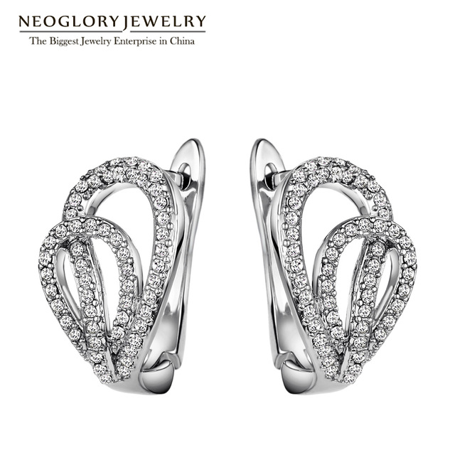 Neoglory Austrian Rhinestone Fashion Clip White Wedding Earrings for Women Love Christmas Gifts Jewelry Hot 2017 New AOM