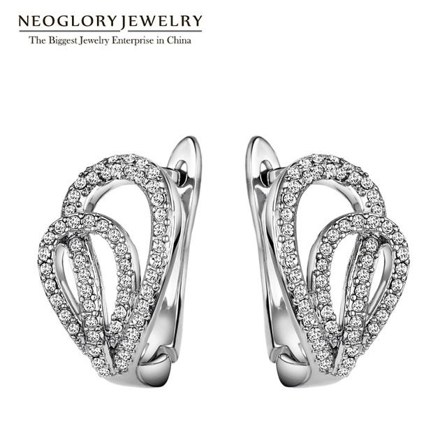 Neoglory strass austríaco de moda clipe brincos de casamento branco para as mulheres presentes de natal amor jóias hot 2017 novo aom