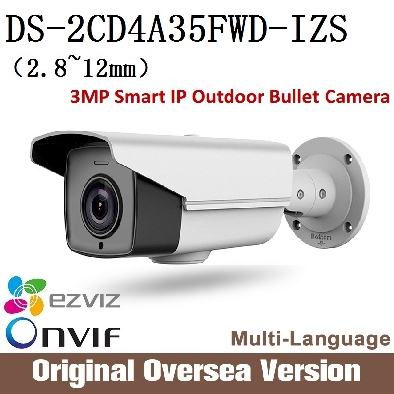HIKVISION English Version DS-2CD4A35FWD-IZS 3MP Smart IP Outdoor Bullet Camera Support 128G on-board storage 45fps frame rate free shipping english version ds 2cd4a65f iz 6mp smart ip outdoor bullet network camera support 64g on board storage