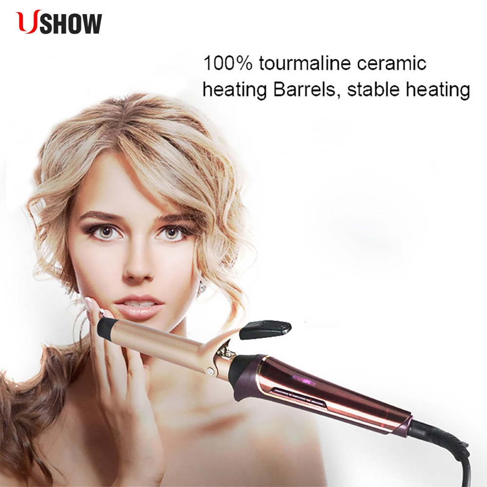 New Arrival 25MM Cone Barrel Professional Nano Titanium Hair Curler With LCD Dispay Rotating Curling Iron Wand Give Free Gift