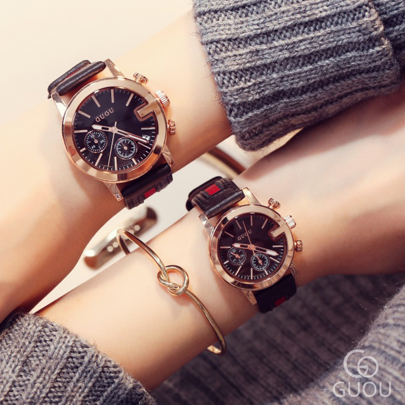 Couple Watch Quartz Fashion Simple Retro British Style Popular Calendar Men And Women Watch