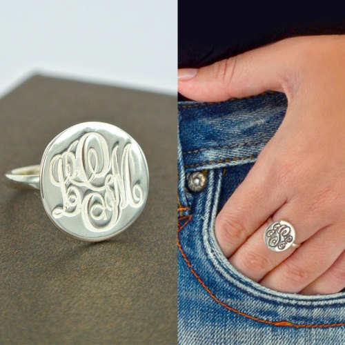 Engraved Monogram Ring 925 Sterling Silver Engraved Name Disc Initial Ring Personalized Jewelry Christmas Gifts faux gem geometric engraved insect ring