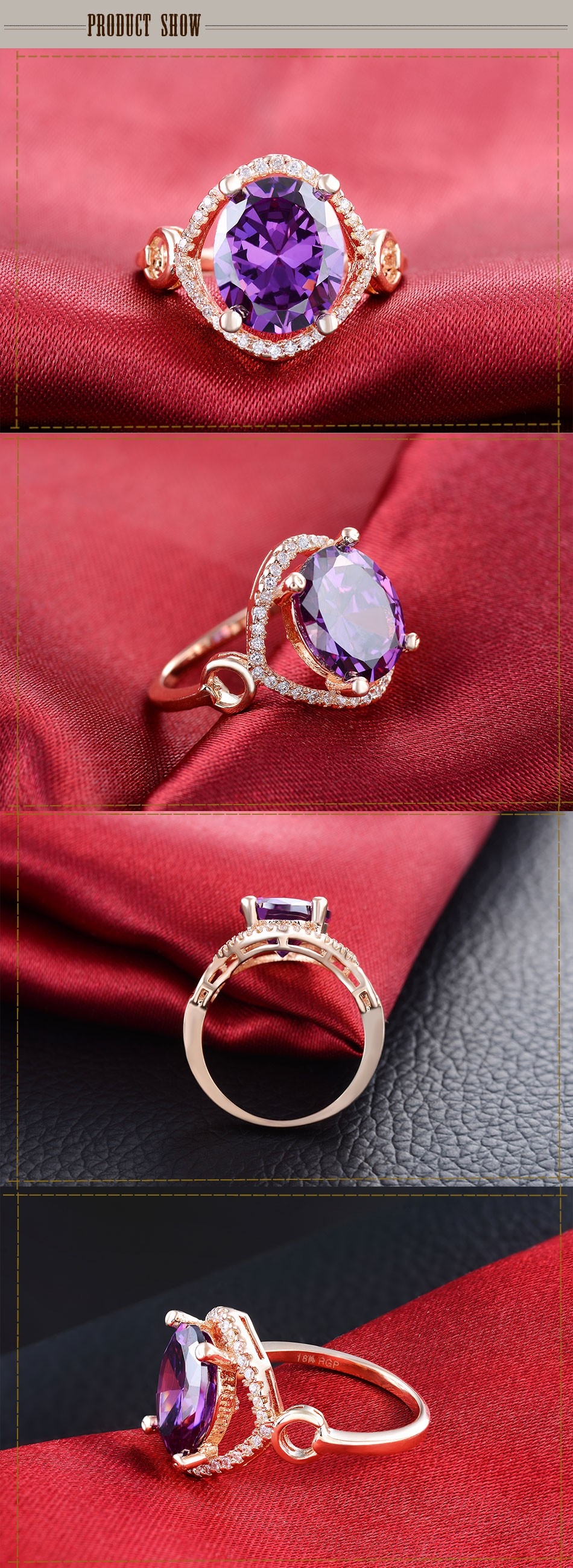 Rose gold color big purple stone rings for women 4 carat jewelry ...