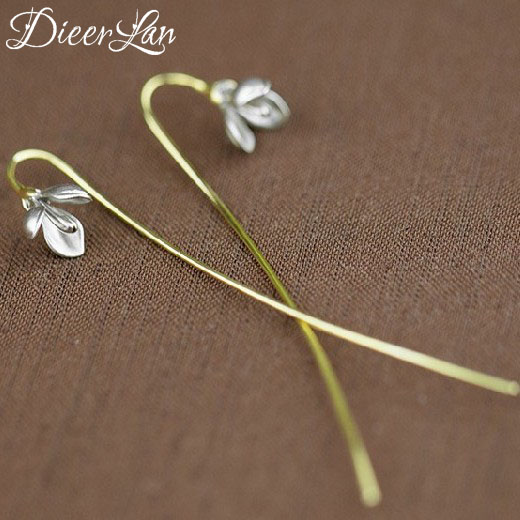 Elegant 925 Sterling Silver Long Flower Earrings For Women Girs Fashion Sterling-silver-jewelry Pendientes