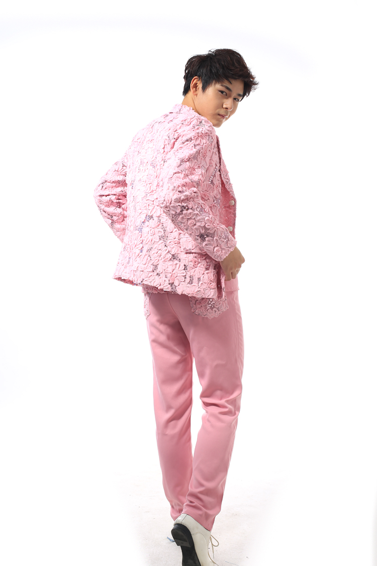 Chaqueta y pantalones) masculina Rosa flores rojas tridimensional ...