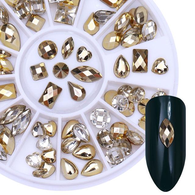 1 Box Gold Clear Nail Rhinestone Double-sided