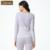 Qianxiu primavera nueva de dos piezas de manga larga de algodón pijama de cuello redondo ropa interior térmica más el tamaño del bordado de la flor de women1604