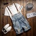 Earoomze Diseñador de la Marca de Verano hombres Ripped Apenada Denim Peto Jeans Shorts Hombre Casual Slim Fit Mono Short Pant