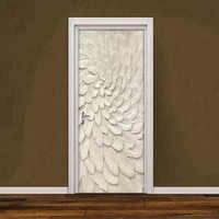 3D Stereoscopic Embossed Beige Leaves Door Sticker Decoration Wall Mural Creative DIY Self-Adhesive Living Room Door Wallpaper