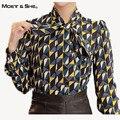Moet She  Women Blouses Autumn Elegant Geometric Print Vintage Bow Tie Shirt Women Tops Floral Clothes For Women T65228R